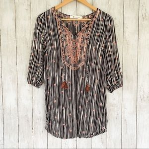 The Impeccable Pig Embroidered Boho Peasant Top S